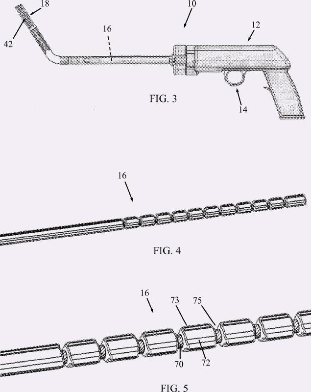 Mecanismo de accionamiento para aplicador articulado de grapas helicoidales.