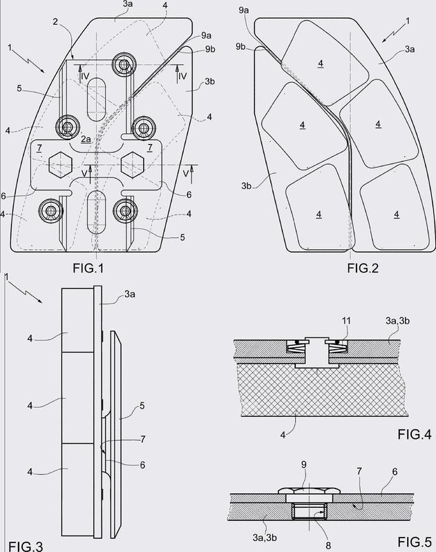 Pastilla para frenos de disco para vehículos ferroviarios.