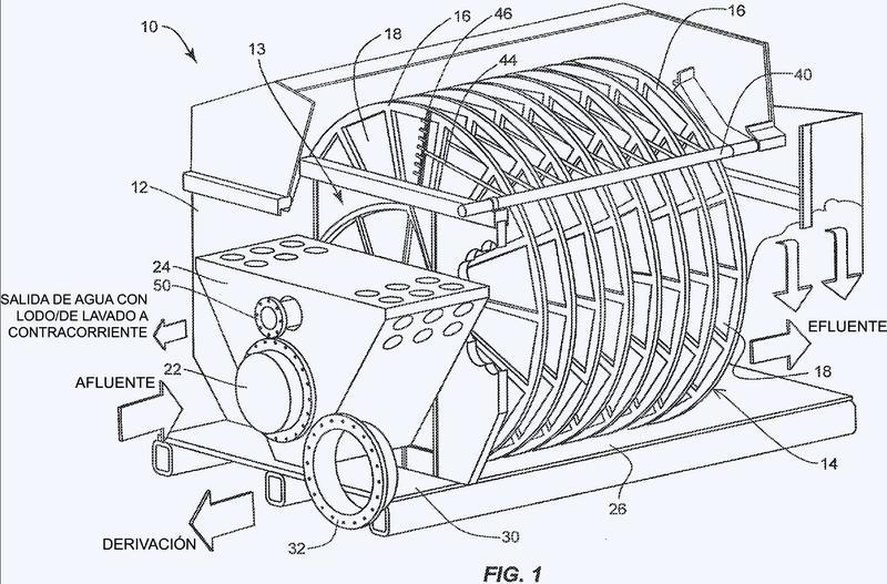 Filtro de disco giratorio con lavado a contracorriente automático integrado y sistema de limpieza química.