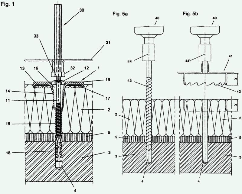 Espiga y procedimiento para un soporte rebajado en placas de aislamiento.