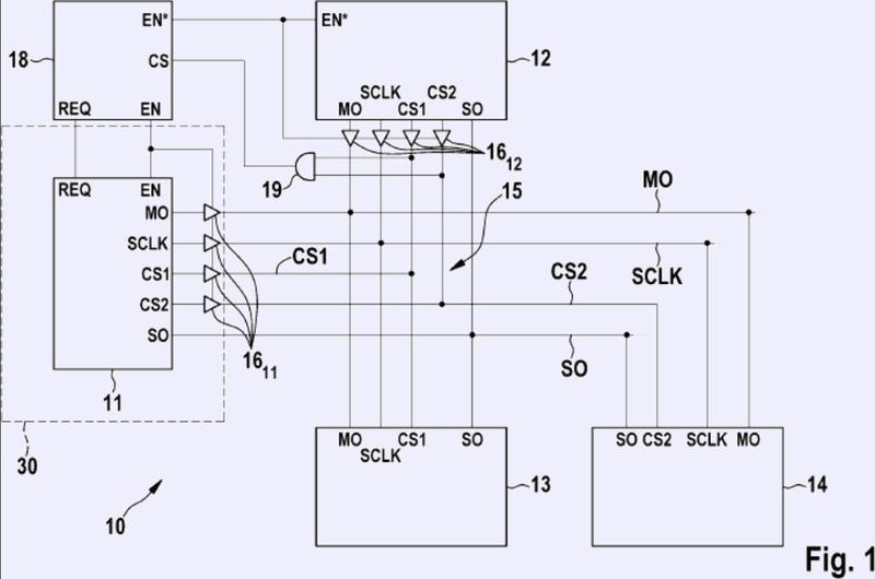 Circuito eléctrico para la transmisión de señales entre dos maestros y uno o varios esclavos.