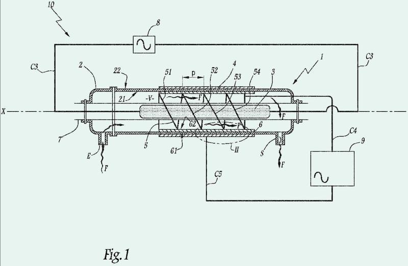 Dispositivo, sistema y procedimiento de tratamiento de gas por el método descarga capa dieléctrica.