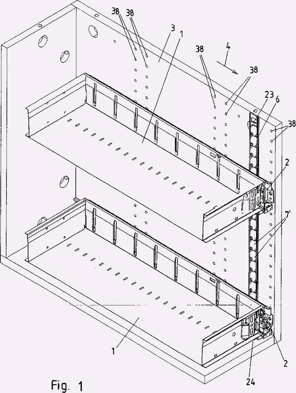 Dispositivo de bloqueo de extracción para al menos dos partes de mueble extraíbles.