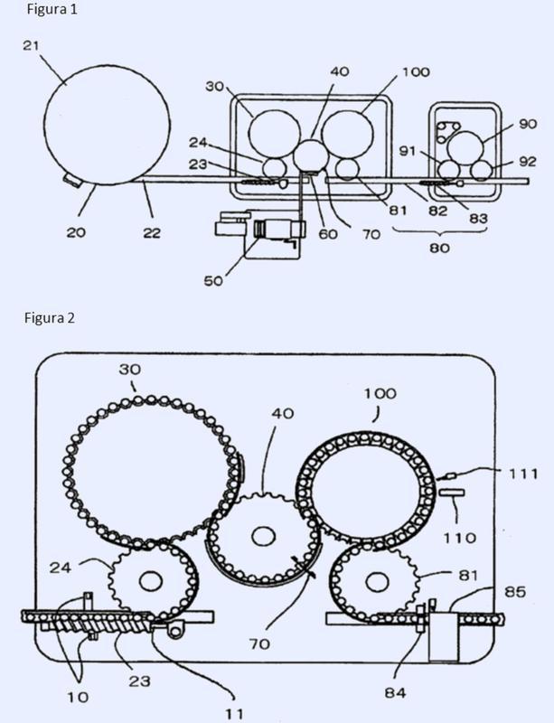 Máquina de llenado y envasado de tipo rotativo continuo dotada de mecanismo de impresión.