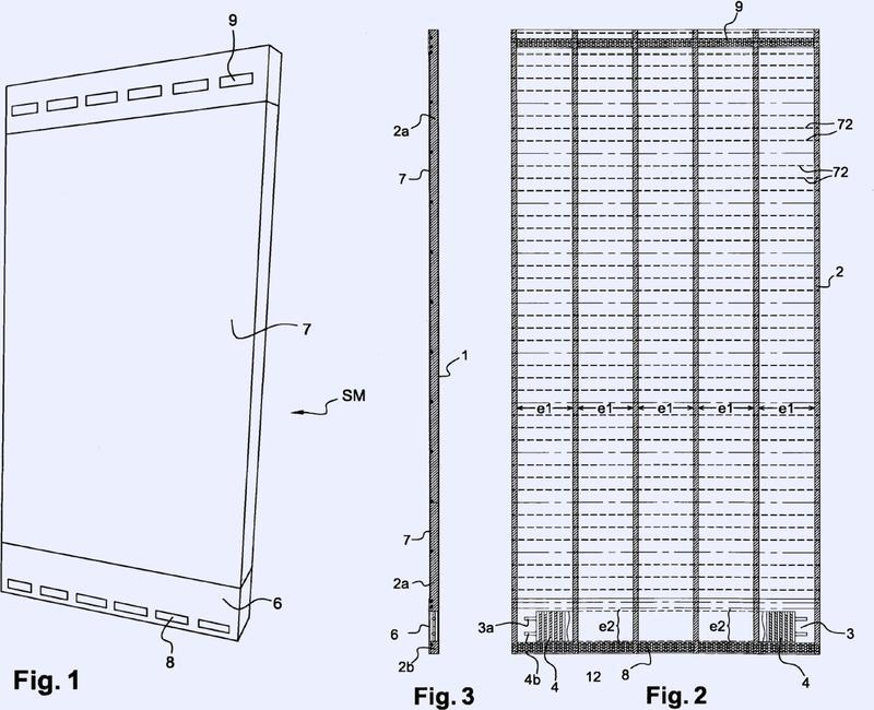 Estructura modular de calefacción adaptable a las paredes interiores de los edificios.