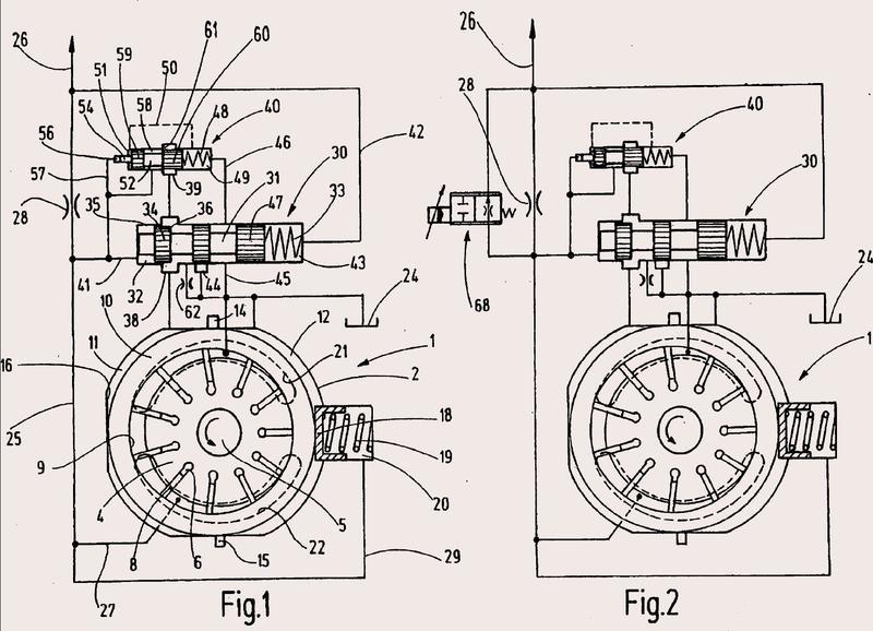 Bomba de desplazamiento variable con un regulador de caudal y una válvula de presión.