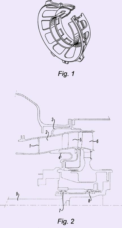 Soporte de cojinete posterior flexible con tope para turbomáquina.