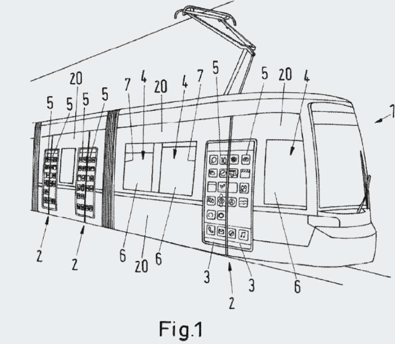 Vehículo sobre carriles con un dispositivo de visualización traslúcido para la visualización de informaciones visuales.