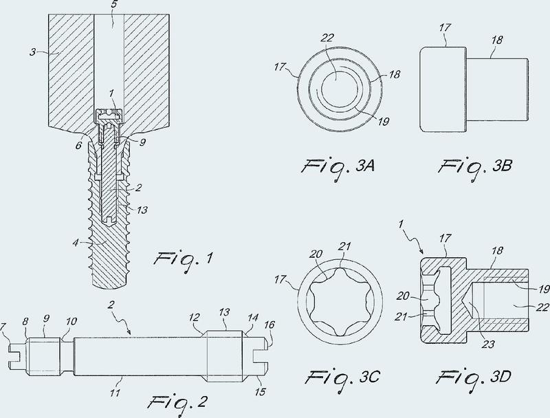 Combinación de un pilar y un tornillo de dos partes.