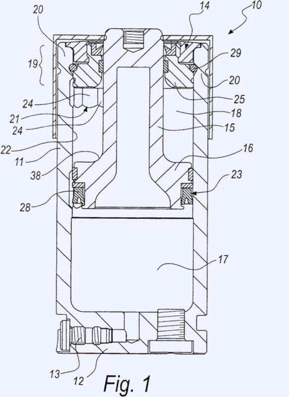 Actuador de cilindro de gas con dispositivo de seguridad para la eyección controlada del vástago del pistón.