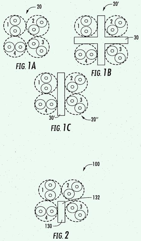 Cable de comunicaciones de par trenzado con separación selectiva de pares.