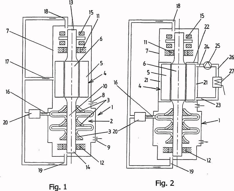 Grupo compresor compuesto de un compresor centrífugo y un motor eléctrico.