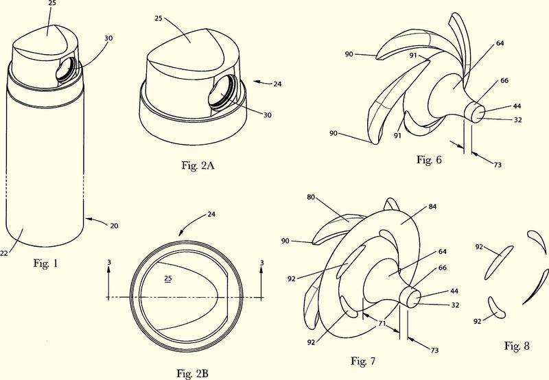 Dispensador con trayectoria de flujo convergente.