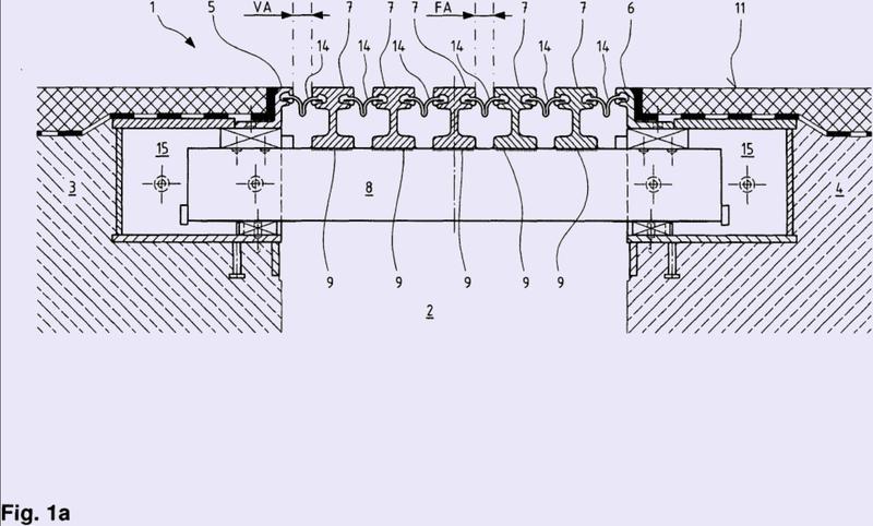 Dispositivo de construcción de puente en modo de construcción de viga central para una junta de estructura edificada.
