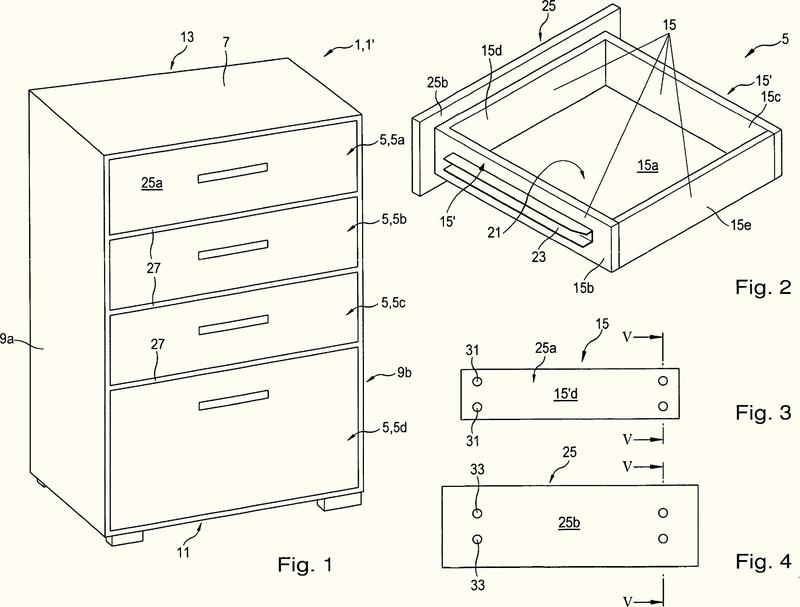 Procedimiento para fabricar un mueble con varios cajones.