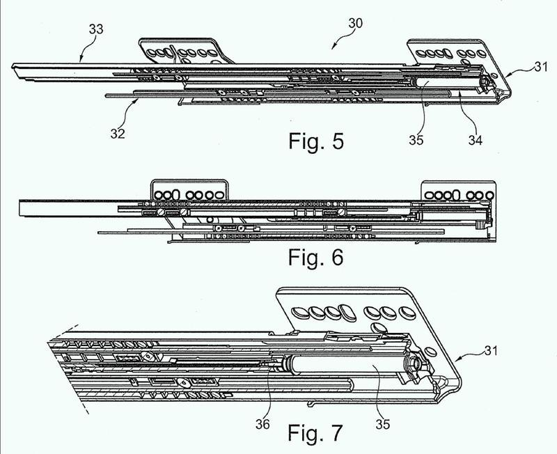 Dispositivo para amortiguar el desplazamiento de una pieza de mueble desplazable.