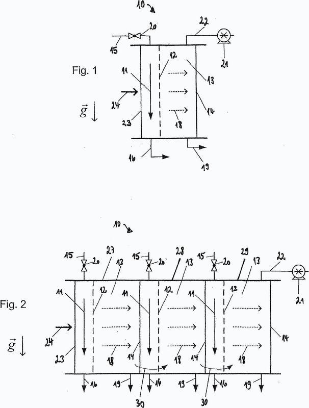 Procedimiento para la regeneración de una pared de membrana en un dispositivo de destilación.
