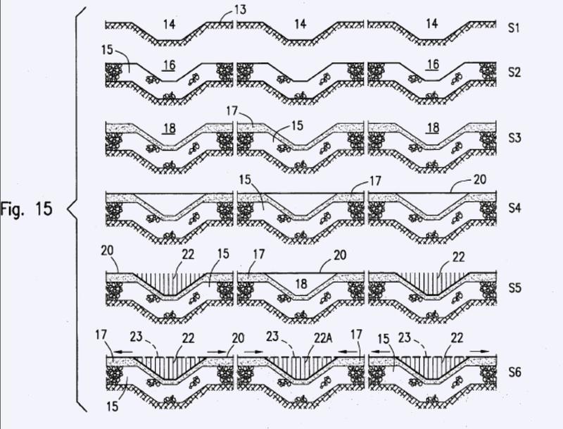 Método y dispositivo para colocar y tensar una cubierta impermeable para obras hidráulicas en material suelto.