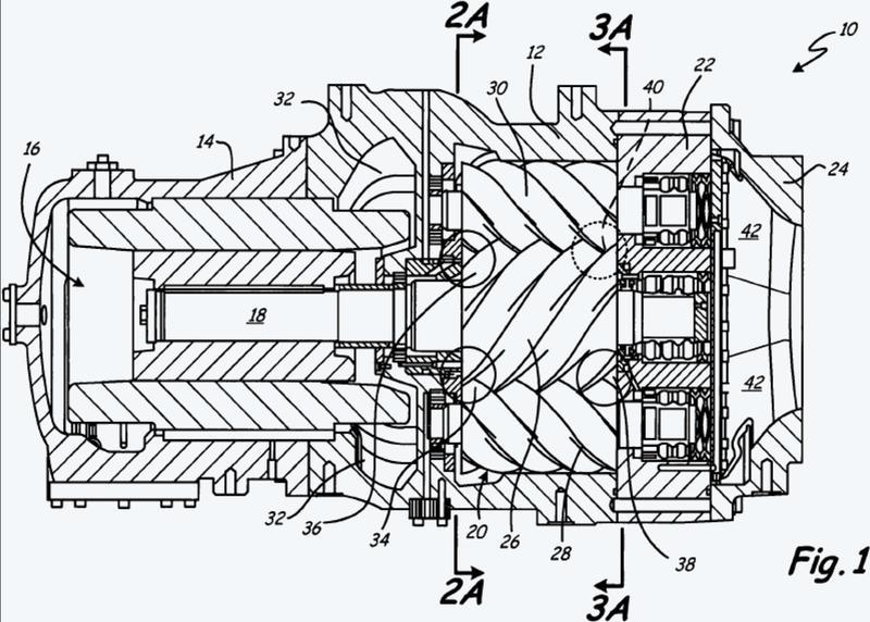 Compresor de tornillo con puertos asimétricos.