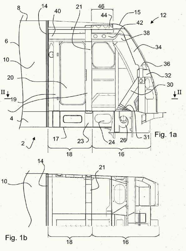 Vehículo ferroviario con una cabina del conductor deformable con una interfaz de reparación específica.