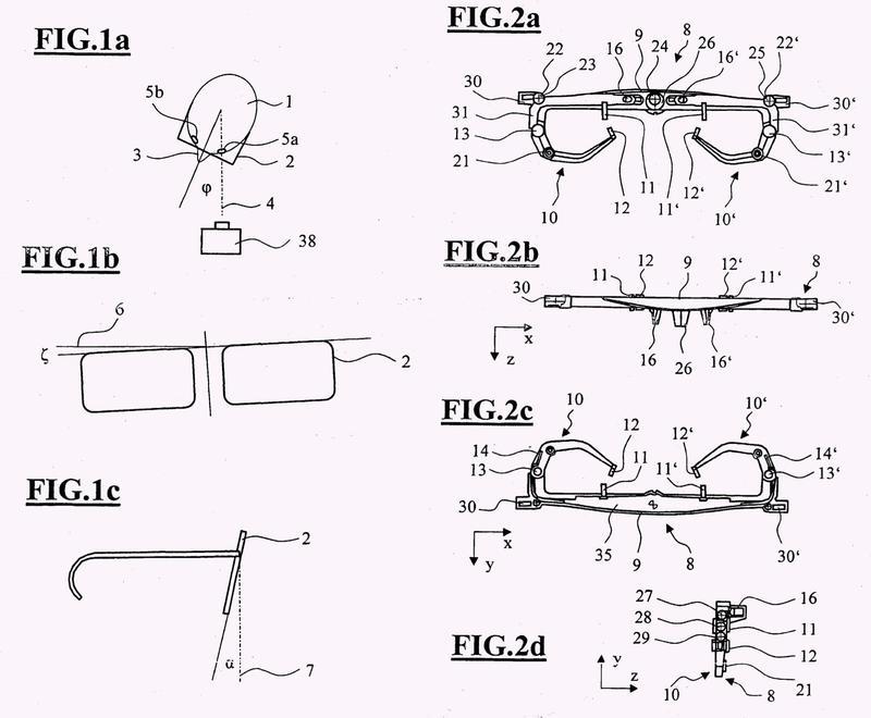 Abrazadera de medición así como instalación y procedimiento para la determinación del ángulo de inclinación alfa de una montura de gafas.