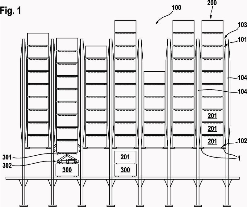Dispositivo de sujeción y sistema de almacenamiento para pilas de recipientes.