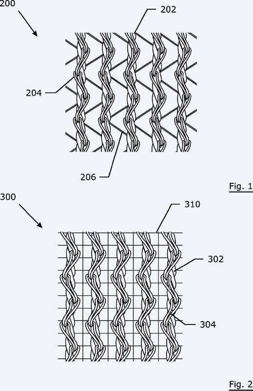 Una estructura de refuerzo de mampostería que comprende conjuntos paralelos de filamentos metálicos agrupados en una posición paralela.