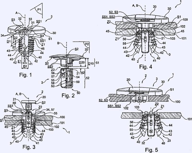 Dispositivo de fijación divisible y ensamblaje de al menos dos placas con un dispositivo de fijación divisible de este tipo.