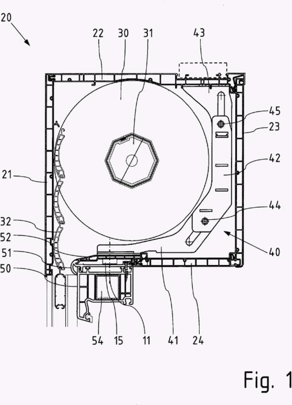 Dispositivo de fijación para un elemento de rigidización de un cajón de persiana enrollable.