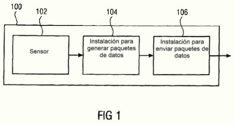 Conjunto de sensor estacionario operado por batería con una transmisión de datos unidireccional.