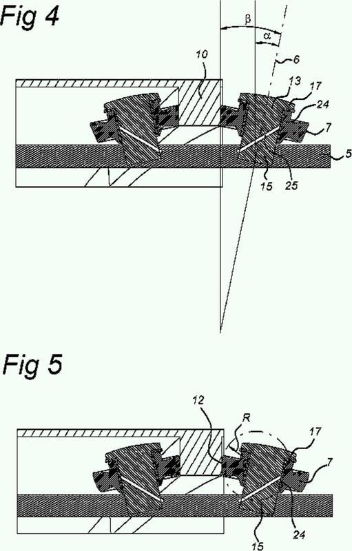 Seguidor de leva con un eje angular para rotación.