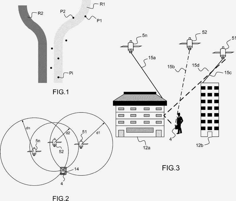 Procedimiento de estimación de la dirección de llegada de señales de navegación en un receptor después de la reflexión por unas paredes en un sistema de posicionamiento por satélite.