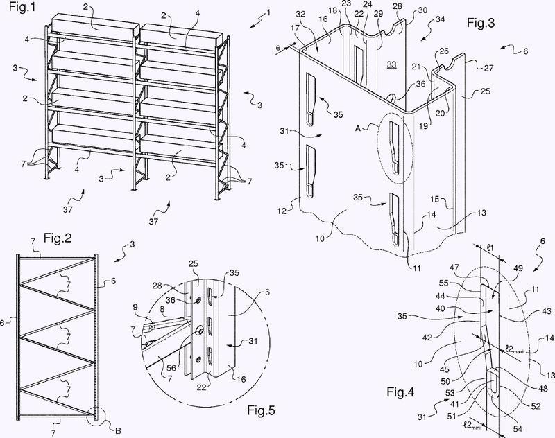 Columna vertical configurada para equipar un panel lateral de un dispositivo de estantes, panel lateral que comprende dichas columnas verticales y dispositivo de estantes que comprende dichos paneles laterales.