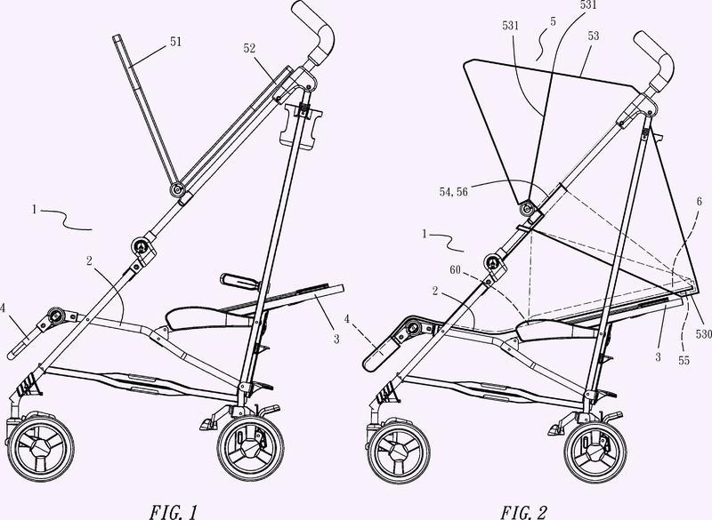 Dispositivo de ajuste de dirección para el asiento de una silla de paseo de bebé.