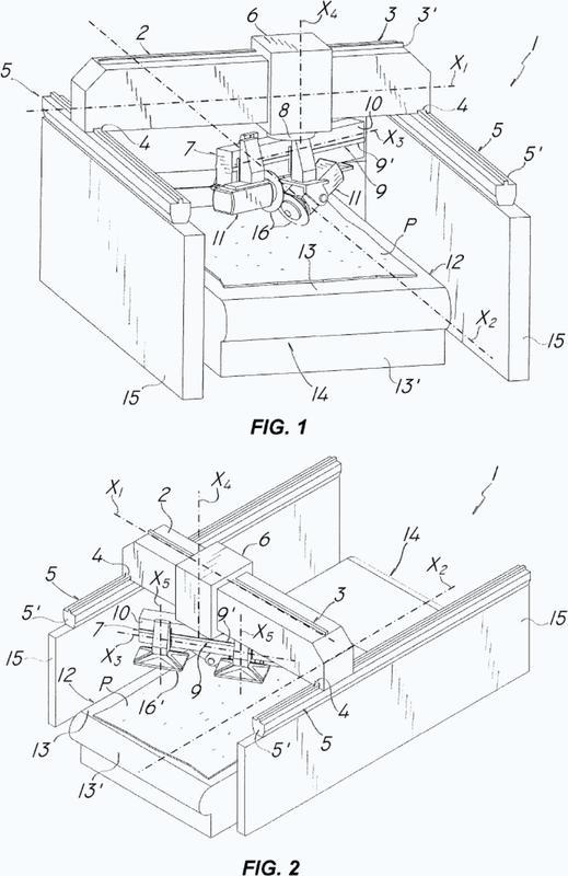 Máquina herramienta multiaxial para trabajar losas y/o bloques de piedra.