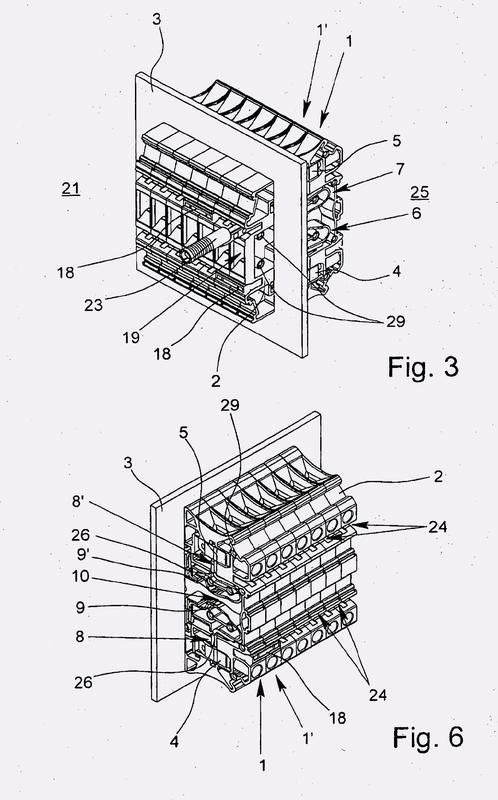 Borna eléctrica para carril y bloque de bornas para carril.