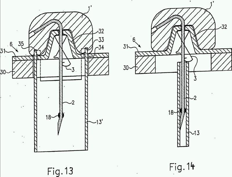 Aguja hipodérmica con dispositivo de protección para la punta de aguja.
