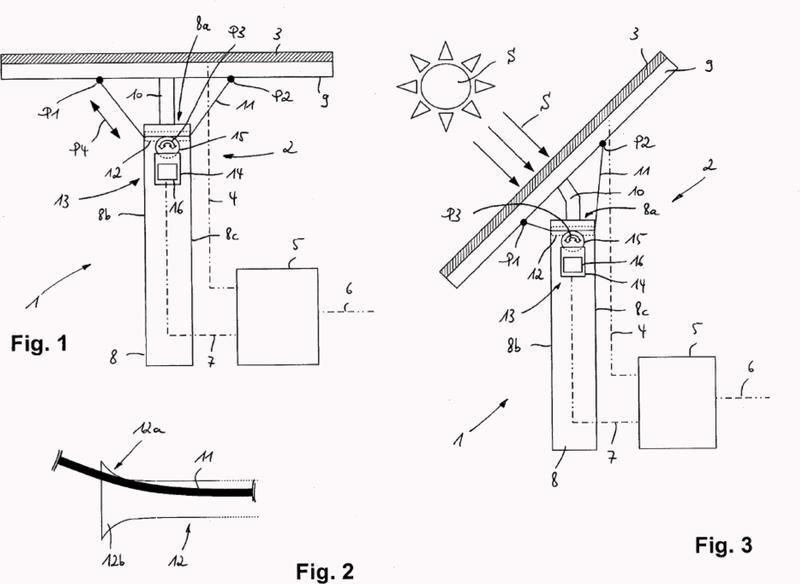 Dispositivo de seguimiento del sol para módulos solares con falsas articulaciones elásticas o bien flexibles.