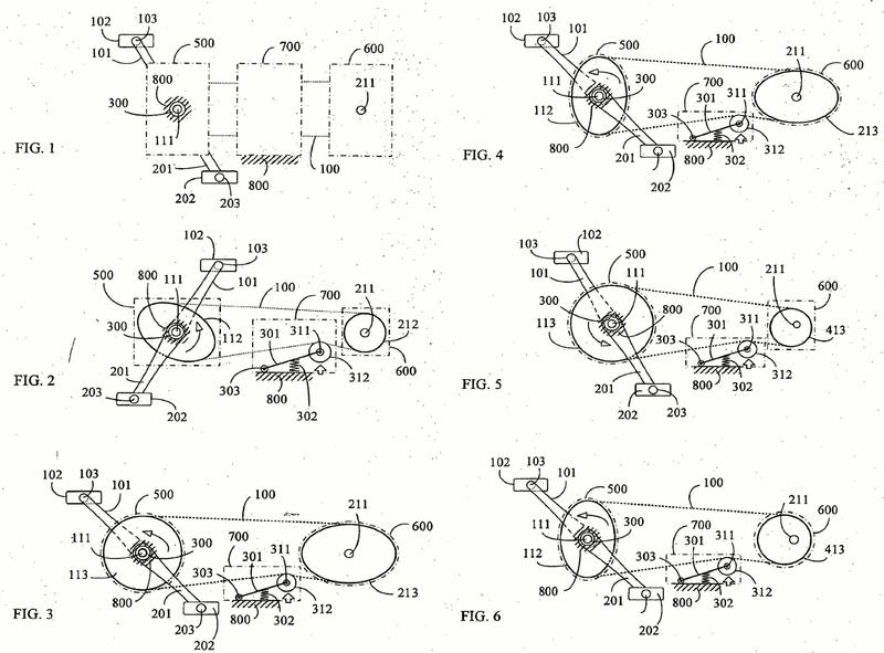Serie de ruedas de transmisión con relación de velocidad variada periódicamente y que tiene una polea auxiliar de desplazamiento recíproco para almacenar/liberar energía cinética.