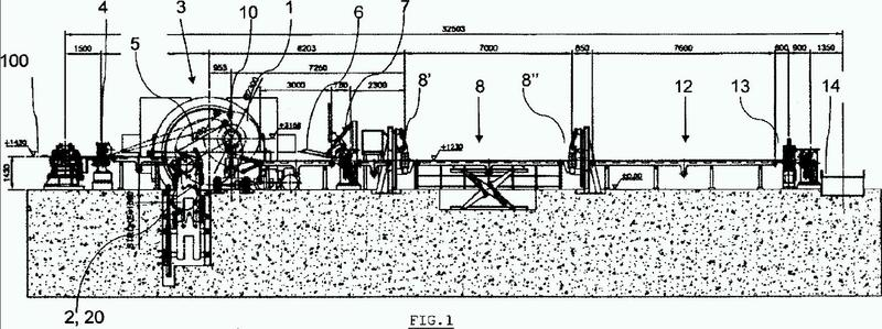 Instalación y procedimiento de salida de tren de laminación en tándem con transportador de cadena sinfín de bobinado acoplado con una inspección en línea.