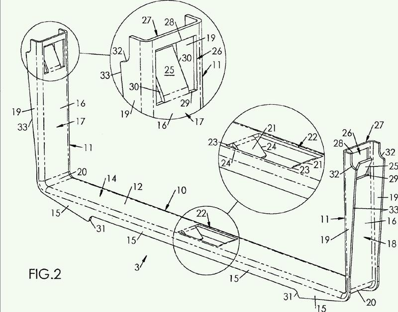 Eclisa monobloque para carril de cables de enrejado de hilo metálico, provista de lengüetas de sujeción.