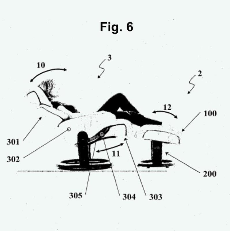 Dispositivo giratorio para apoyo de pies y piernas.