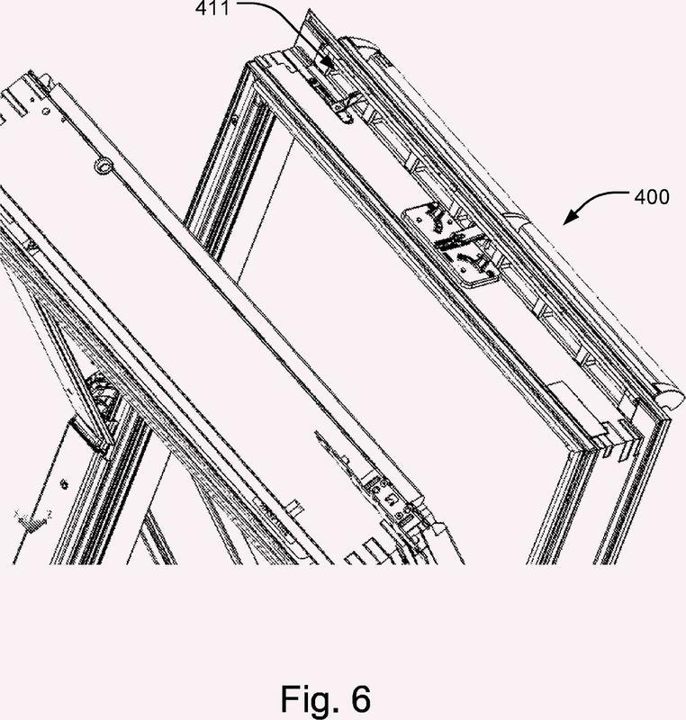 Una ventana de techo con un módulo de bastidor superior.