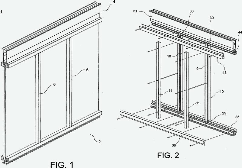 Estructura modular de bastidor para pared móvil.