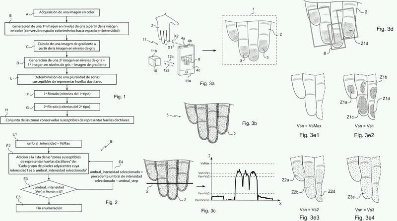 Procedimiento de determinación, en una imagen, de al menos una zona susceptible de representar al menos un dedo de un individuo.