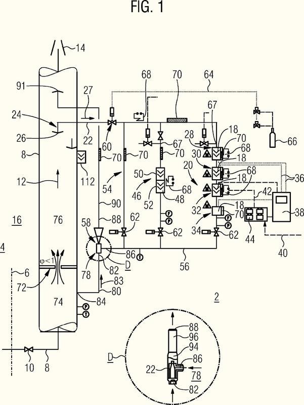Central nuclear con sistema de monitorización de emisión de un sistema de ventilación.