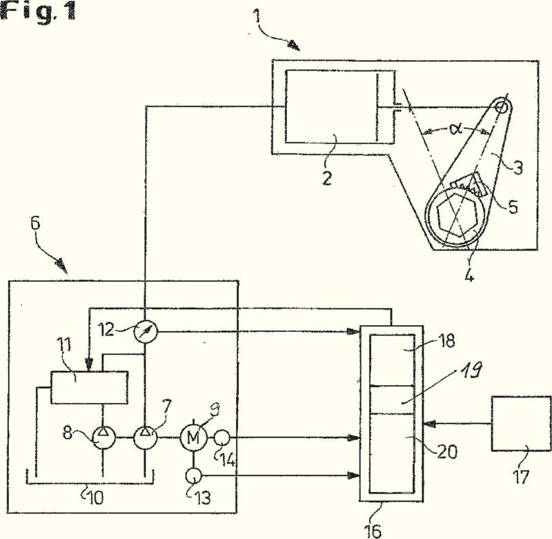 Procedimiento y dispositivo para controlar un destornillador accionado hidráulicamente.