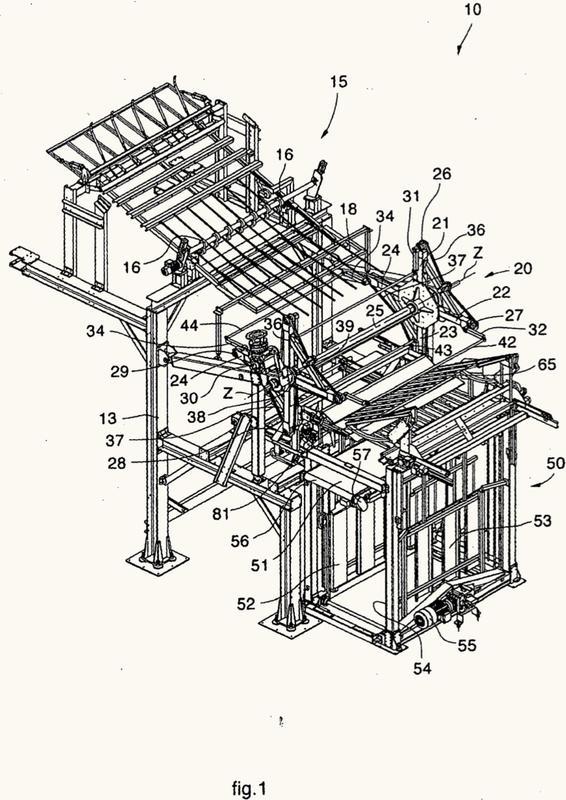Máquina automática para doblar en zigzag y apilar una cinta plegada fabricada de un material suficientemente rígido.