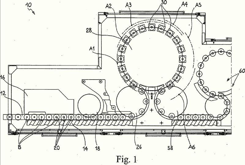Método y aparato para aplicar cápsulas de sellado a cuellos de botellas provistos de una jaula de retención de alambre de metal.