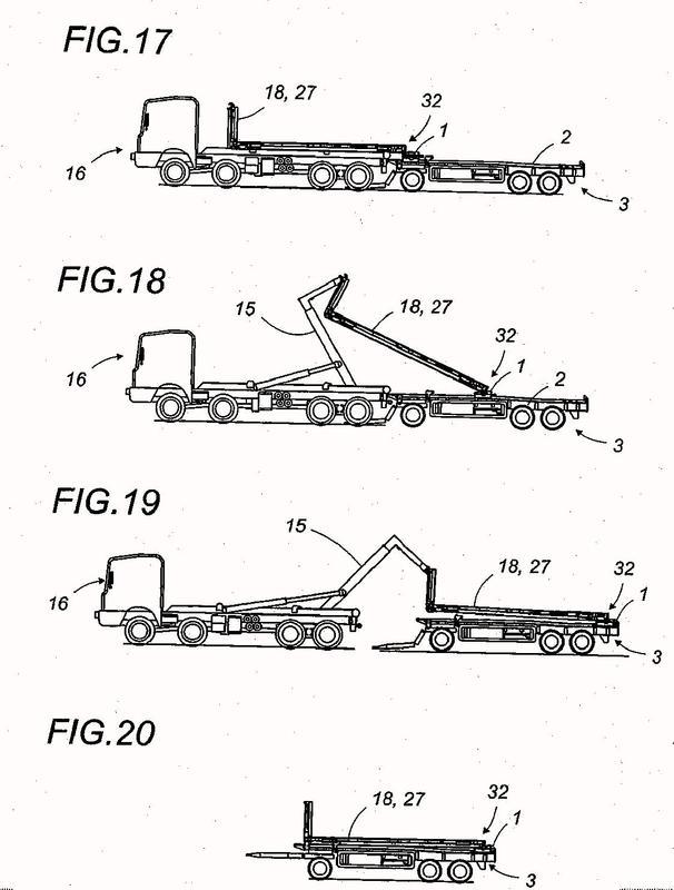Travesaño móvil de soporte y de traslado para la carga y la descarga de una carga, en un remolque a partir de un camión equipado con un brazo de manutención de las cargas.